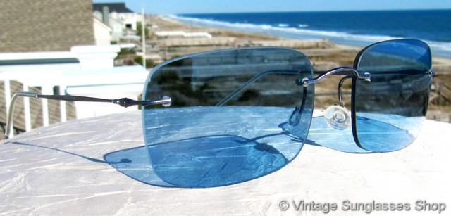 ecfc84ee6de VS1532  Vintage Giorgio Armani RAM 1371AD sunglasses are one of only a  handful of Armani designs ever produced with blue rimless lenses