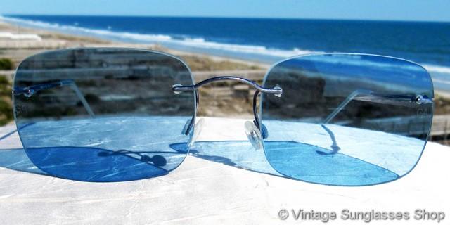 34728bc6168 Giorgio Armani RAM 1371 AD Blue Rimless Sunglasses