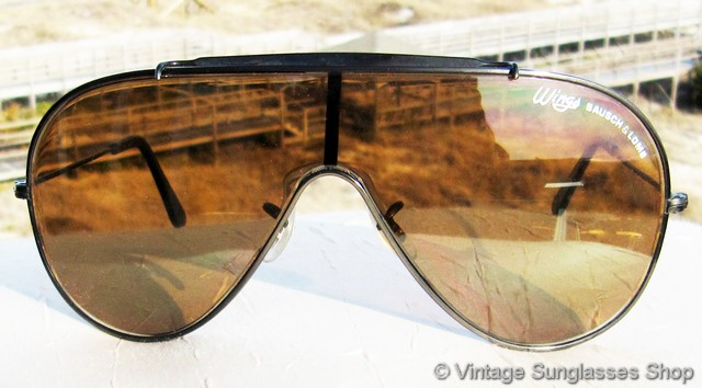 d0fed7785e VS562  Vintage B L Ray-Ban black Wings sunglasses have a different look  from the more common gold plated Wings