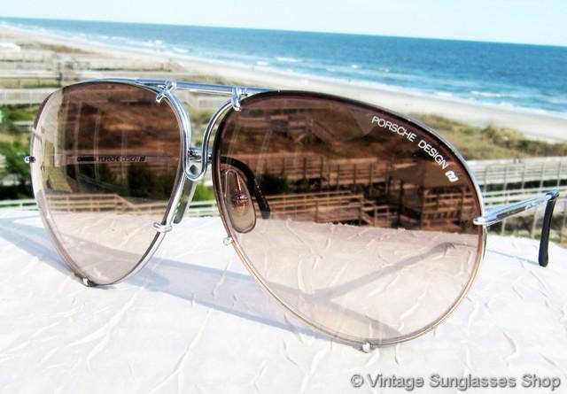 e0f561938359 VS223  Vintage Carrera Porsche Design 5621 71 sunglasses feature a titanium  silver frame and interchangeable brown gradient and gray lenses