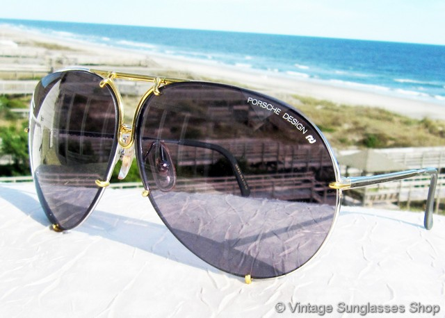 54e9b2334463b VS1411  Vintage Carrera Porsche Design sunglasses feature the hard to find  gold and titanium silver frame