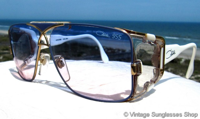 4741f160a240 VS1592: Vintage Cazal 955 354 sunglasses feature a stunning white and gold  with blue enamel highlights frame in the iconic Cazal 955 style, ...
