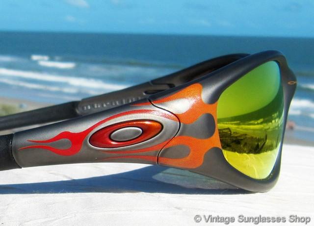 Oakley Straight Jacket Gunmetal Flames Ruby Iridium Sunglasses