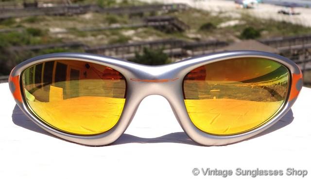 db53fed8224 Oakley Straight Jacket Orange Flames Fire Iridium Sunglasses
