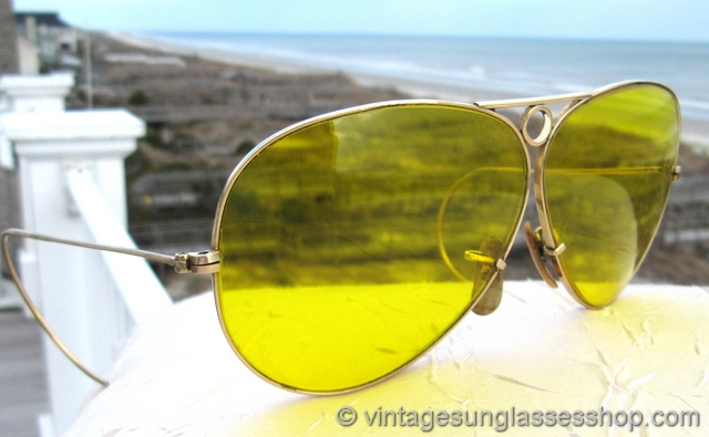 ray ban yellow lens aviator  vs1335: vintage ray ban 12k gf kalichrome bullet hole shooter sunglasses feature the amazing ray ban yellow kalichrome c shooting lenses in a top of the