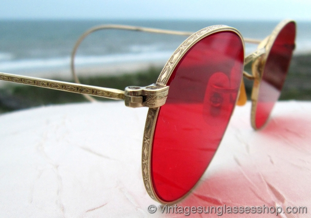 9c83999517  VS819  Vintage B L Ray-Ban 12k GF Rounds sunglasses feature rare red  mineral glass lenses produced only as a special order from Bausch   Lomb  during their ...