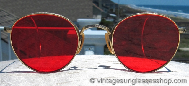 3cd93a0146 B L Ray-Ban 12k GF Rounds Red Lens Sunglasses