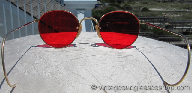 Sunglasses With Red Lenses  b l ray ban 12k gf rounds red lens sunglasses
