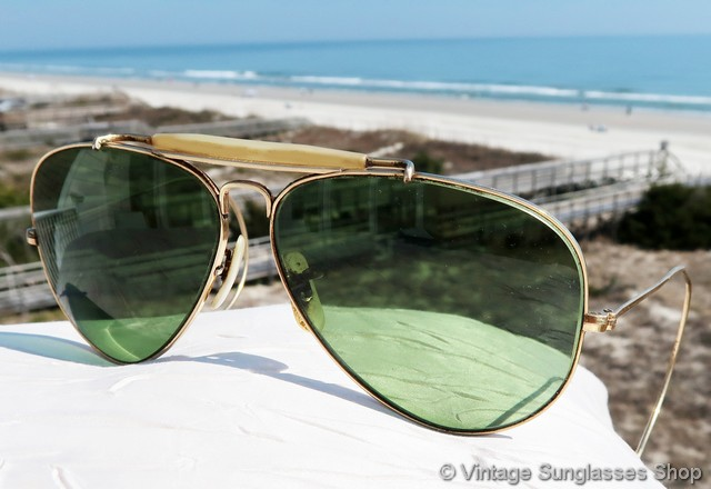 4de15ff419 VS156  Early B L Ray-Ban 12k gold filled 58mm shooter sunglasses c late  1960s   early 1970s feature the famous B L G-15 lenses and the classic  teardrop ...