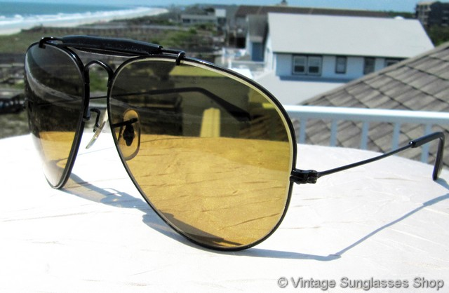 all black aviator sunglasses xqyx  VS1270: Vintage Ray-Ban Black Chrome Ambermatic General sunglasses have all  the bells and whistles you want in a fine design classic and high  performance