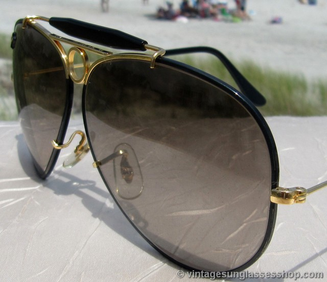 ray ban black glass with golden frame  vintage sunglasses shop