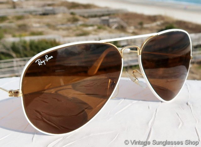 ray bans sunglasses white  vs1833: vintage ray ban white flying colors sunglasses feature gleaming white enamel covering the arista gold plated 58mm aviator frame,