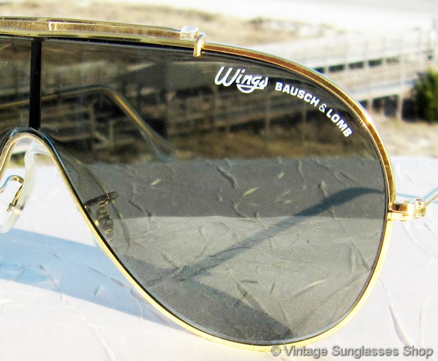 818e4ddc49 VS545 Vintage B L Ray-Ban Wings with gold frame and brow bar and neutral  gray-green G-15 lenses were the original style in the innovative one-piece  Wings ...