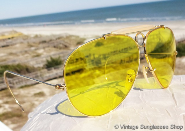 ray ban aviator yellow glass  vs020: vintage b&l ray ban 10k gold filled bullet hole kalichrome shooters feature the amazing bausch & lomb kalichrome c yellow hunting and shooting lens