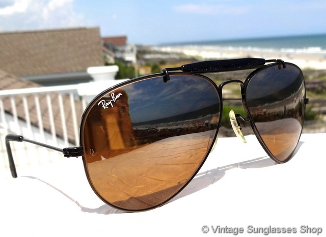 596d3b088dc6 VS1400: Vintage Ray-Ban L1696 black chrome sunglasses feature rare B-15 top  gradient mirror lenses and