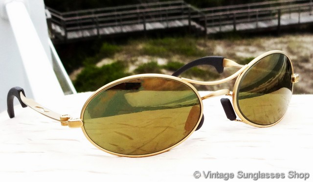 068ce39dbb VS450  Vintage Ray-Ban W2307 Orbs Ellipse sunglasses feature rare Bausch    Lomb gold mirror lenses produced in only very small quantities and here in  the ...