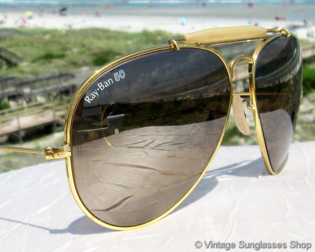 ray ban glasses germany  vs2376: vintage and very rare ray ban rb 50 type iii ultra deep groove aviator outdoorsman shooter sunglasses were made in w. germany during the 1980's