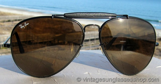 0aa37d57704 Ray-Ban Black Leather The General Sunglasses