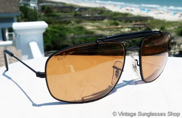 86a5e5f98cc VS2531  Vintage Ray-Ban W1700 Explorer sunglasses with hard to find Bausch    Lomb B-20 Chromax lenses have a more rounded rectangular shape than  traditional ...