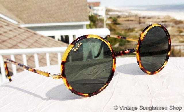 b4a1cbd9cc93 VS153: Rare vintage Ray-Ban W1748 Cheyenne round yellow tortoise shell  sunglasses are a very unique shape among vintage Ray-Bans sure to attract  attention.