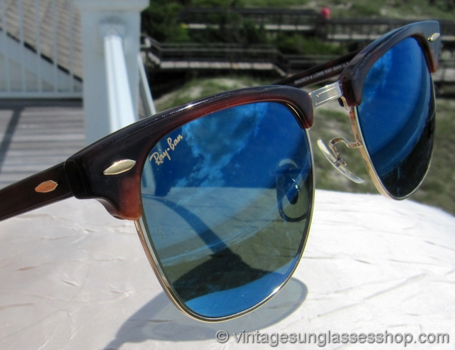 vintage ray ban bausch and lomb  vs1364: vintage ray ban w1851 clubmaster sunglasses feature very rare bausch & lomb blue mirror lenses in the utlimate design variation of the classic
