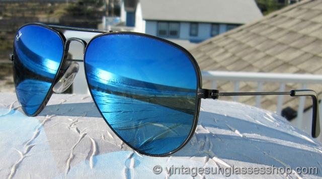 Ray-Ban W2486 52mm Black Chrome Blue Mirror Aviator Sunglasses