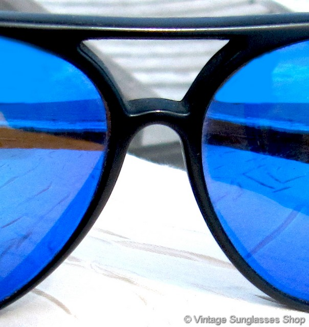 AVIATOR STYLE CLIP ON SUNGLASSES BLACK AND REVO BLUE WITH HARD CASE