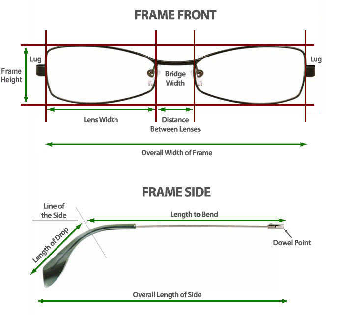 Eyeglass Frames Measurements : Sunglasses Frame Measurements: How To Measure Frame Sizes ...