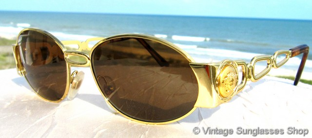 59ddd3c2b6ef VS871: Vintage Versace S34 030 sunglasses c mid 1990s feature gold link ear  stems with the trademark Versace Medusa head decorating each stem at the  temple, ...