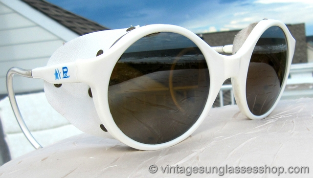 294297a7533 VS1381  Vintage white Vuarnet Skilynx round glacier glasses feature the  rare round lens version of their iconic glacier glasses done in Vuarnet  PX-4000 ...